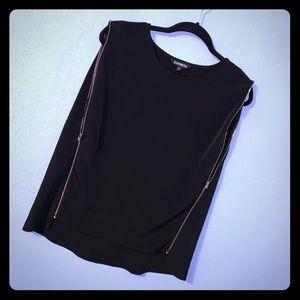 Express Black Sleeveless Top w/ Zipper Accents